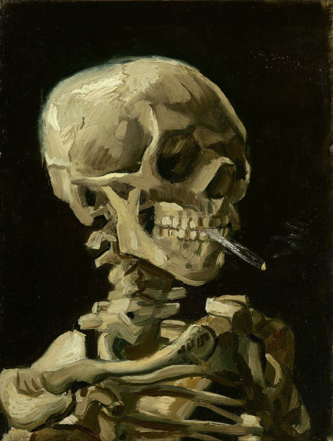 1885-1886 Vincent_van_Gogh_-_Head_of_a_skeleton_with_a_burning_cigarette 32 cm × 24.5 cm museo van gogh amsterdam