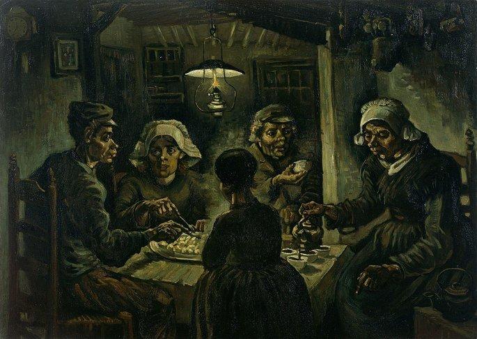 1885 Los comedores de patatas 1885, pintura al óleo, 82 × 114 cm. Museo van Gogh, Ámsterdam.