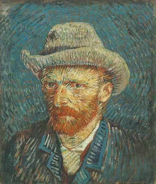 1887-88 Self-Portrait with Grey Felt Hat Oil on canvas 44.0 x 37.5 cm. Paris Winter