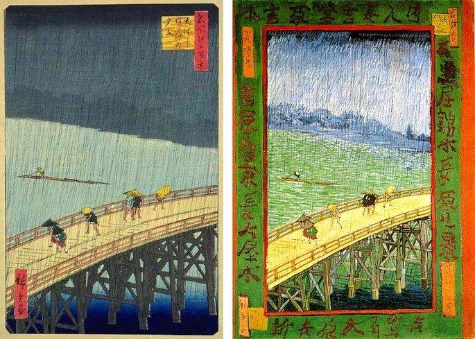 1887 izq grabado de Hiroshige El puente Ohashi en Atake bajo una lluvia repentina DER copia Japonaiserie Puente bajo la lluvia