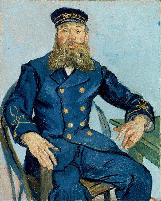 1888 Portret_van_de_postbode_Joseph_Roulin 81.3 cm Ancho 65.4 cm museo de bellas artes Boston