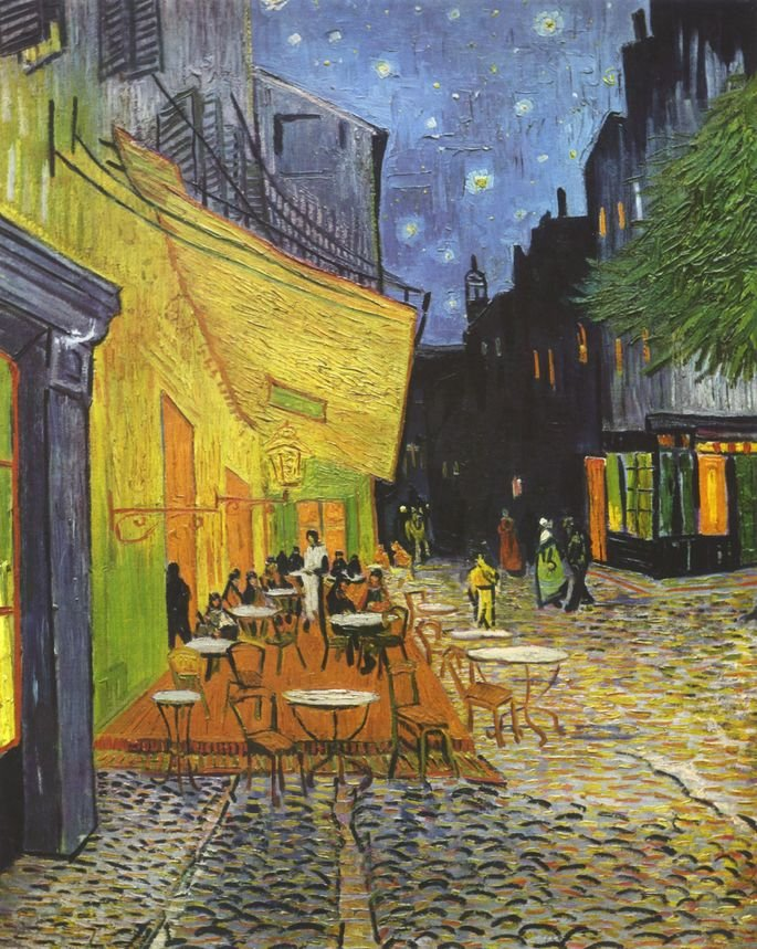 1888 Vincent_Willem_van_Gogh_-_Cafe_Terrace_at_Night_place do forum arles 81 cm × 65.5 cm Museo Kröller-Müller, Otterlo Países Bajos