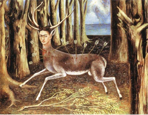 1946 el ciervo herido-1946-Oleo sobre fibra dura-22,4 x 30 cm