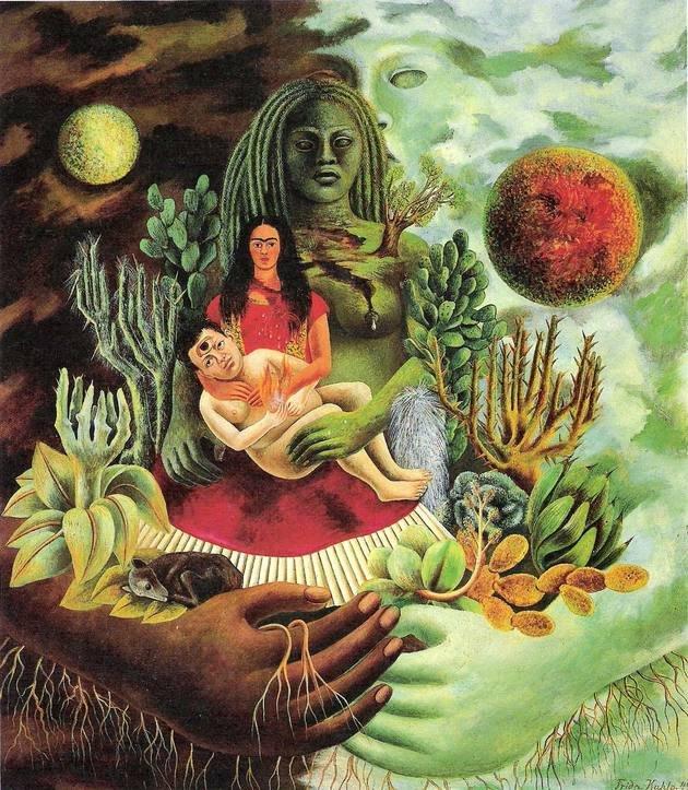 1949 el abrazo de amor del universo 1949 Óleo en tela montada sobre masonita 70 centímetros × 60.5 centímetros Colección privada Jacques y Natasha Gelman, Ciudad de México, México