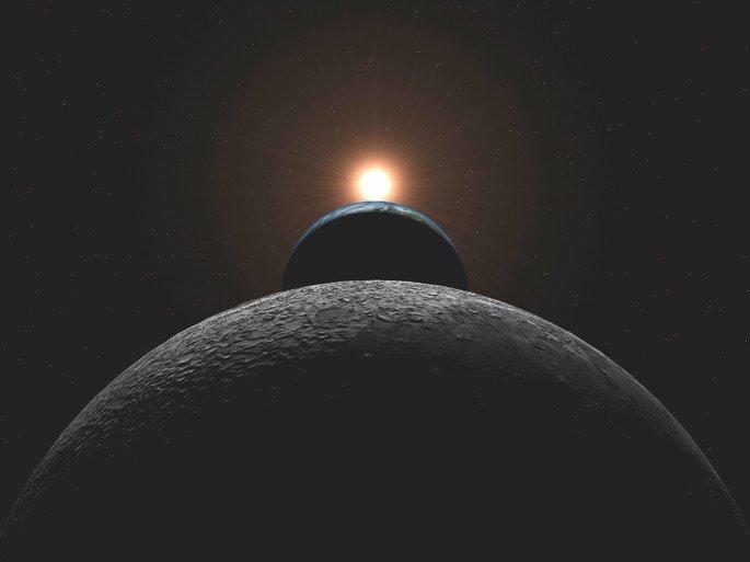 Alineación de la tierra, la luna y el sol.