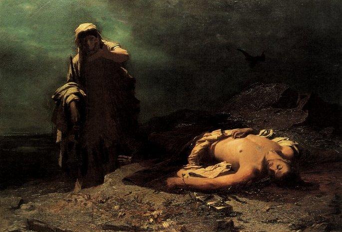 Pintura en la que aparece Antígona rindiendo sepultura a su hermano Polinices