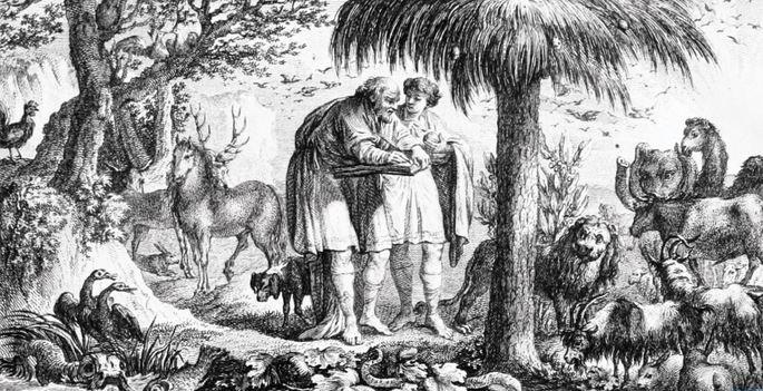 Ilustración de Arsitóteles observando a los animales