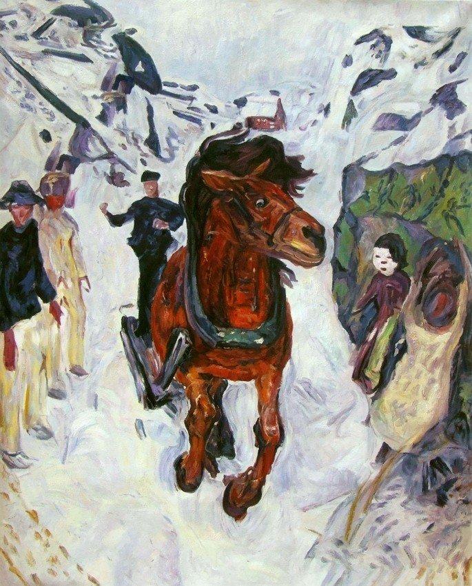Edvard Munch: Caballo a galope, 1912, óleo sobre lienzo, 148 x 120 cm, Museo Munch, Oslo.