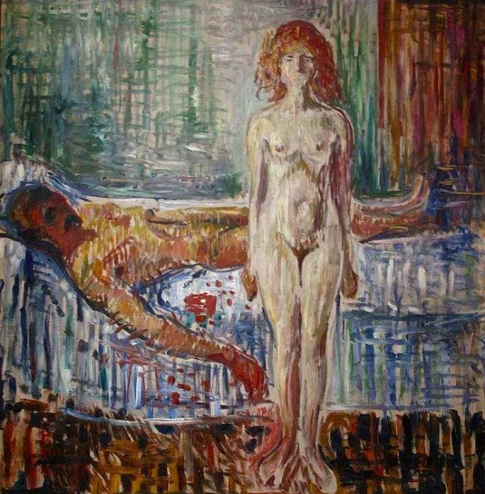 Edvard Munch: La muerte de Marat, 1907, óleo sobre lienzo, 153 × 148 cm, Museo Munch, Oslo.