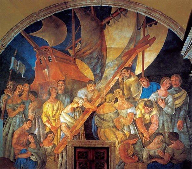 Ramón Alva de la Canal: El desembarco de los españoles y la cruz plantada en tierras nuevas
