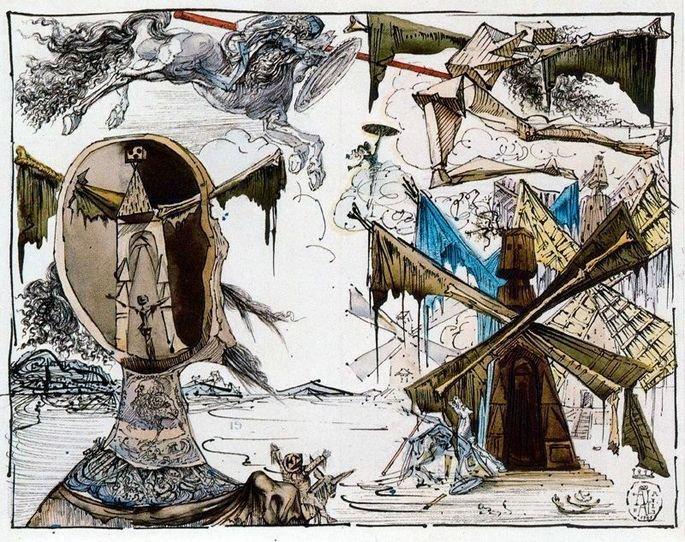 Don Quijote y los molinos por Salvador Dalí