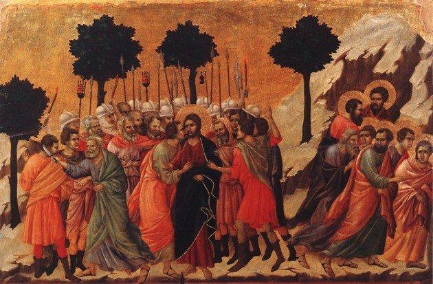 Duccio di Buoninsegna el prendimiento de Cristo 1311 Temple sobre madera