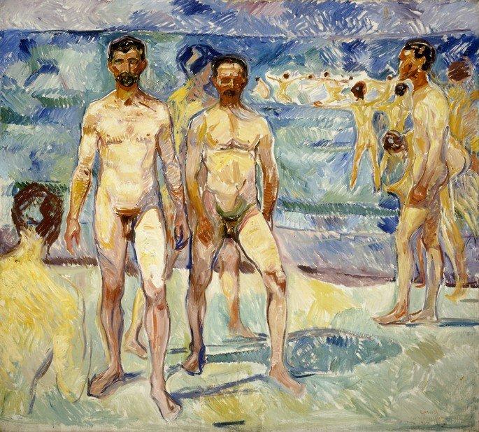 Edvard Munch: Hombres bañistas, 1907, óleo sobre lienzo, 206 × 227 cm, Galería Nacional de Finlandia.