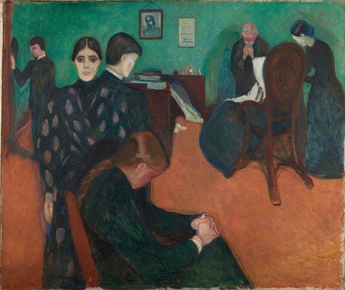 Edvard Munch: Muerte en la habitación, 1895, Témpera y lápices de cera sobre tela, ***