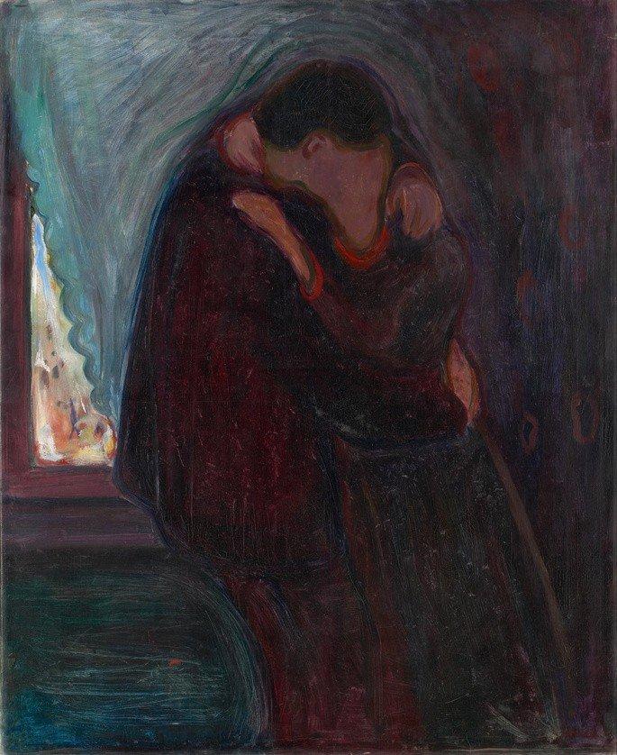 Edvard Munch: El beso, 1897, óleo sobre lienzo, 99 x 81 cm, Museo Munch, Oslo.