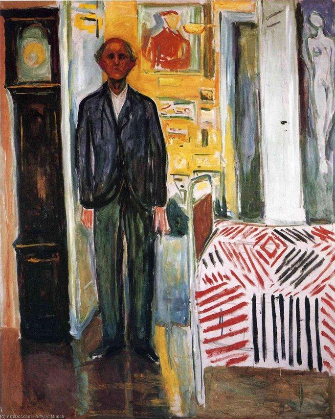 Edvard Munch: Autorretrato entre el reloj y la cama, 1940-1943, óleo sobre lienzo, Museo Munch, Oslo.