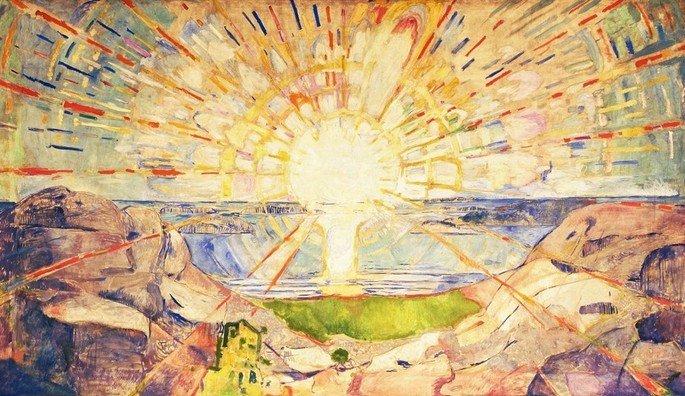 Edvard Munch: El sol, 1909-1911, fresco, 452 x 788 cms, Universidad de Oslo.
