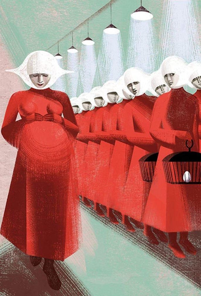 Ilustración que muestra a una criada embarazada.