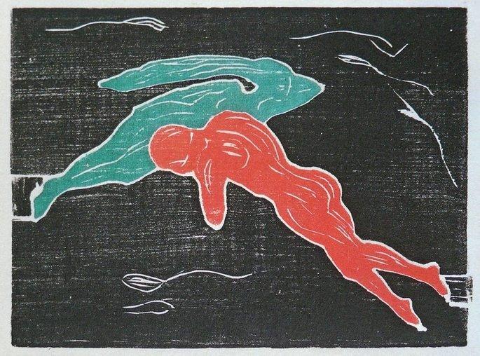 Edvard Munch: Encuentro en el espacio, 1898, grabado sobre madera.