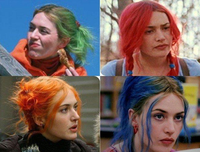 Fotogramas de Eterno resplandor donde aparecen los distintos colores de pelo de Clementine