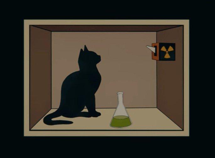 Fotograma de la paradoja gato de Schrödinger