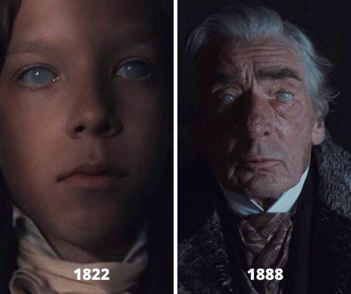 Fotografía comparativa de Gustave de niño y de anciano