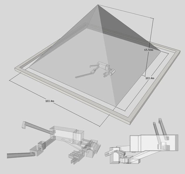 vista axonométrica de la pirámide de Micerinos