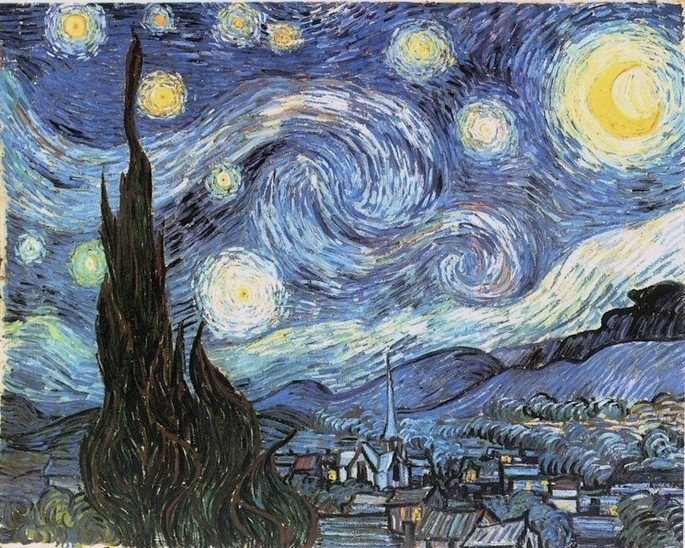 1889 la noche estrellada 74 cm x 92 cm MoMA