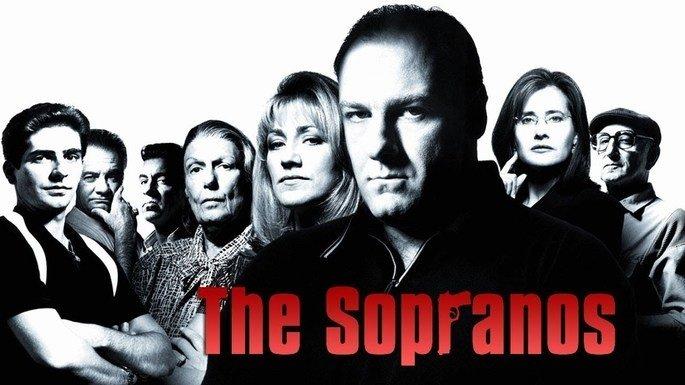 Cartel de la serie Los Soprano, en el que aparecen sus protagonistas