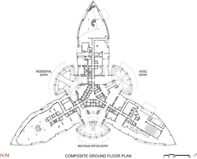 Plano de la base del Burj Khalifa