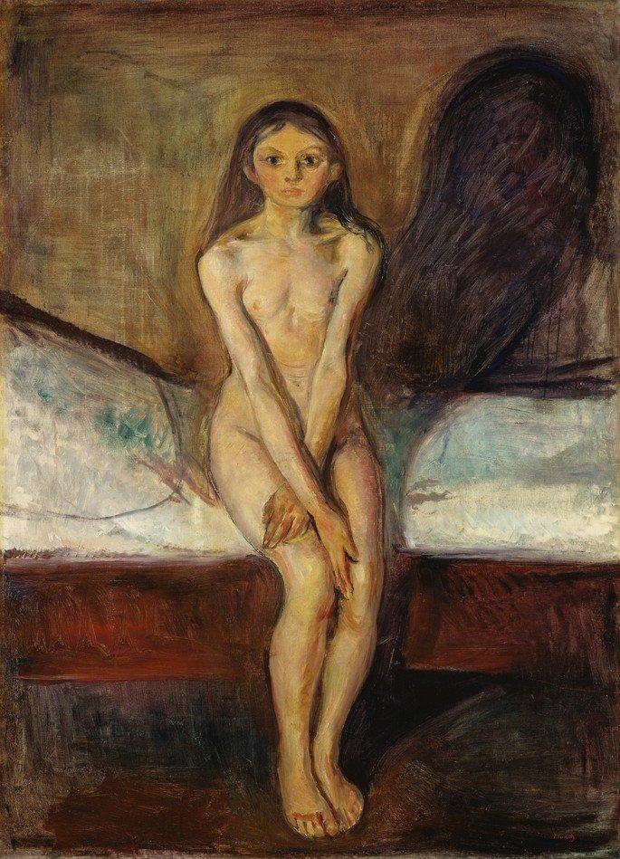 Edvard Munch: Pubertad, 1894-1895, óleo sobre lienzo, 151.5 x 110 cm, Galería Nacional de Noruega y Museo Nacional de Arte, Arquitectura y Diseño (Noruega)