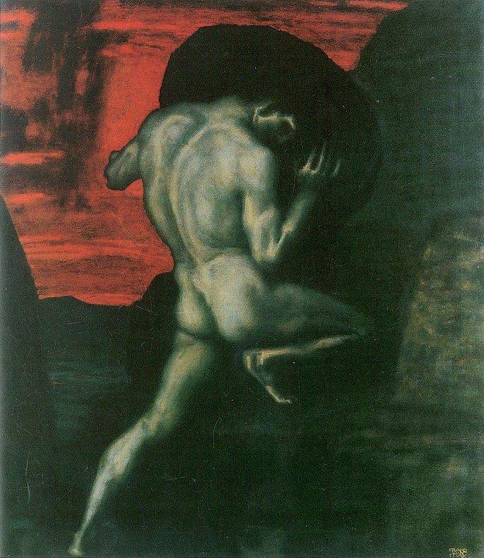 Pintura de Sísifo por von Stuck