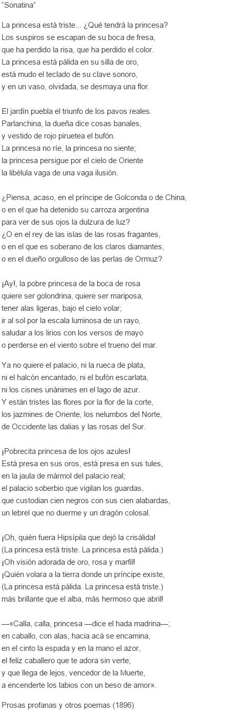 Significado Del Poema Sonatina De Ruben Dario Cultura Genial