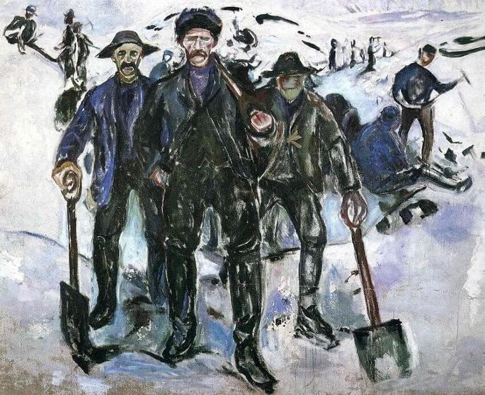Edvard Munch: Trabajadores en la nieve, 1913, óleo sobre lienzo, 163 x 200 cm, Museo Munch, Oslo.