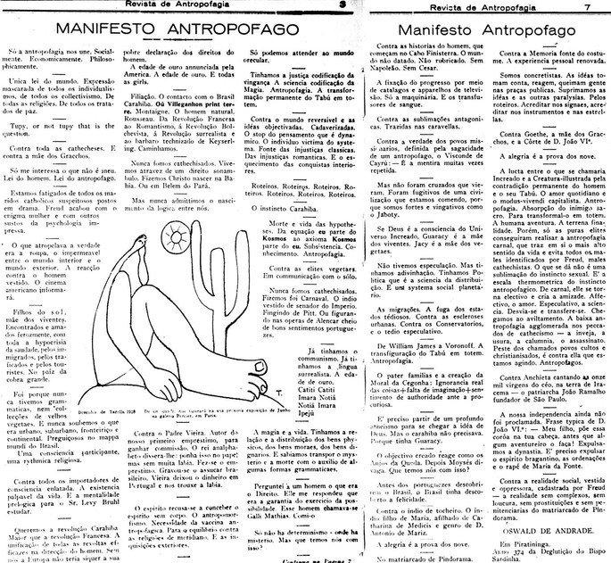 Imagem do Manifesto Antropófago escrito por Oswald de Andrade e publicado na Revista Antropofagia