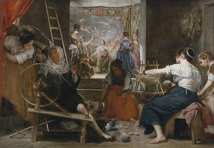 Quadro As fiandeiras, do pintor barroco espanhol Velazquez.