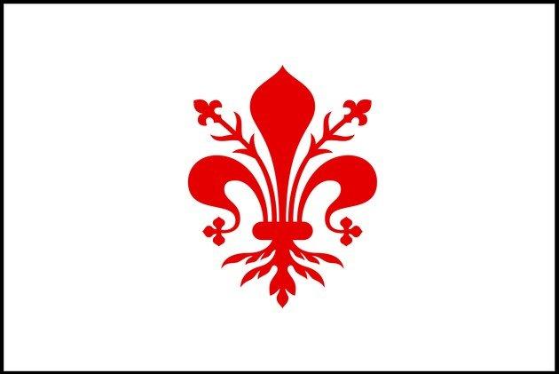 A própria bandeira da República Florentina carrega o lírio.