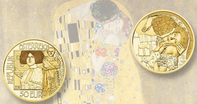 O governo austríaco emitiu uma moeda de uma edição comemorativa com a imagem de O Beijo de um lado e a representação do seu criador do outro.