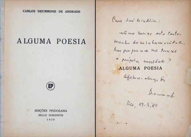 Capa e primeira folha de Alguma Poesia (1930).