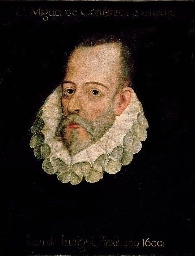 Retrato de Miguel de Cervantes pintado por Juan de Jauregu (1600).