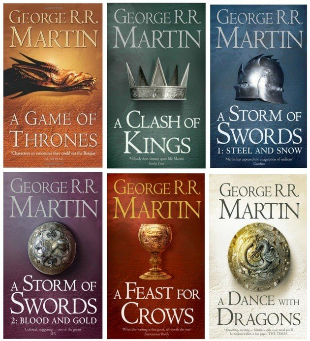Capas das edições norte-americanas de A Song of Ice and Fire.