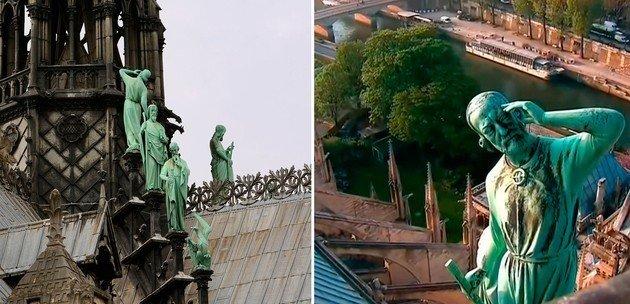 À esquerda: detalhe do grupo escultórico de bronze Os Doze Apóstolos (telhado). Direita: Detalhe do retrato de Viollet-le-Duc como Saint Thomas.