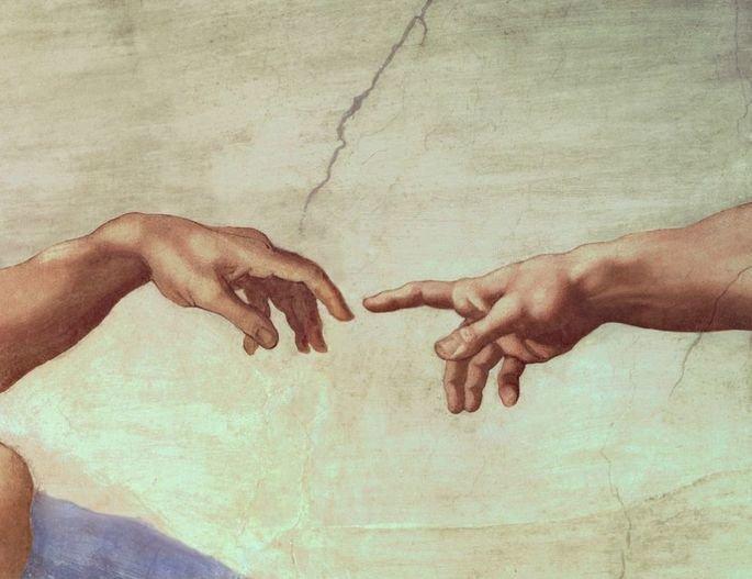 a criação de adão dedos quase tocam