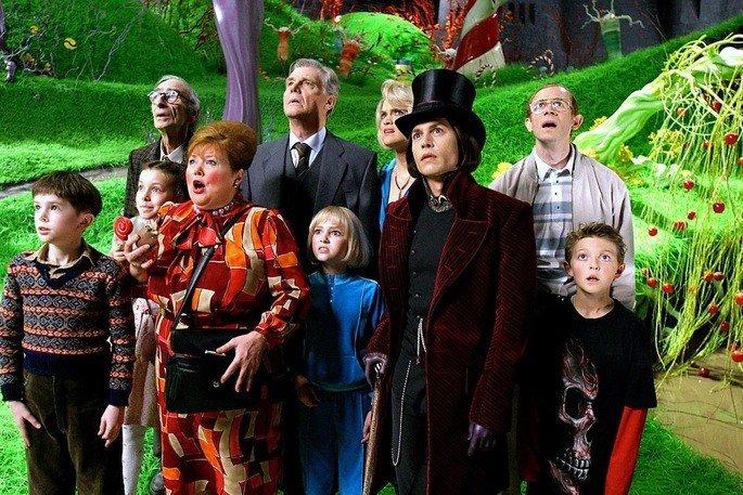 cena do filme A fantástica fábrica de chocolate mostra os personagens com roupas coloridas olhando para cima