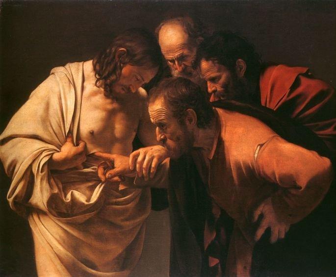 Quadro A incredulidade de São Tomé, obra do artista barroco Caravaggio.