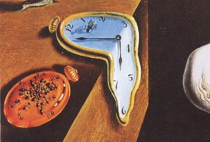 a mosca sobre o relógio em A persistência da Memória, de Dalí