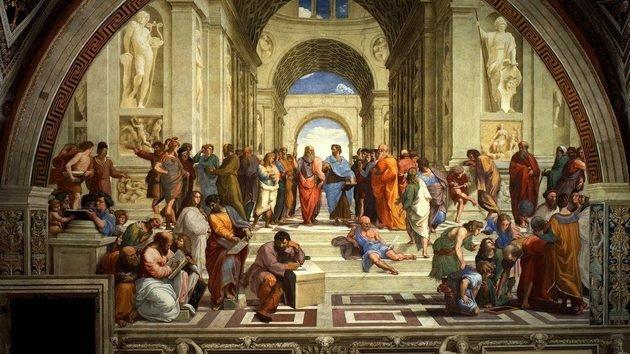 A escola de Atenas, trabalho do renascentista Rafael Sanzio
