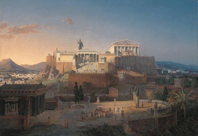Acrópole e do Areópago em Atenas, Leo von Klenze, 1846.