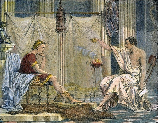 Figura representando Aristóteles transmitindo ensinamentos para Alexandre.