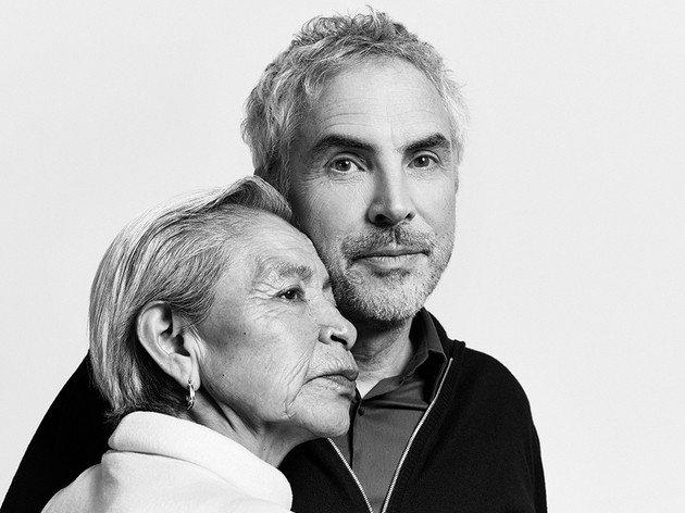 Alfonso Cuáron com Libo, a pessoa real que inspirou a criação da personagem Cleo.